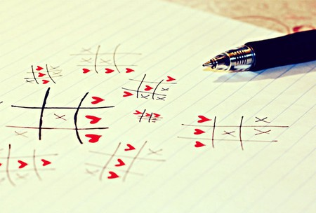 love always wins - pen, game, paper, love, red, hearts, heart