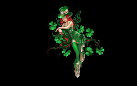 Irish Fairy - green, shamrock, fairy, irish, saint patricks day, clover