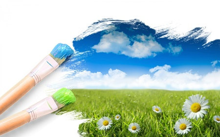 Paint A Picture Of A Perfect Place - green, flowers, field, brush, sky, blue, paint, clouds, grass, nature, daisy