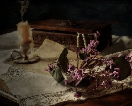 Waning - flowers, pearls, candle, embroidered scarf, basket, chest, vase, letter