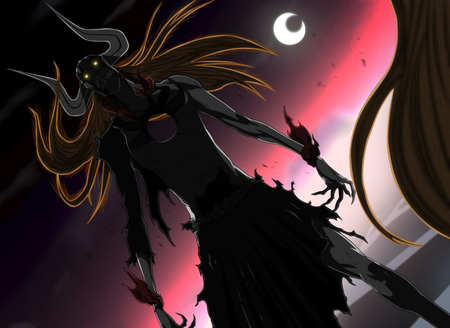Ichigo's Ressurection - hollow ichigo, ichigo, bleach, orange hair, anime, dark, yellow eyes, vasto lorde ichigo, vasto lorde, horns, full hollow ichigo, sky, crescent moon, long hair, claws, ichigo kurosaki, moon, kurosaki ichigo