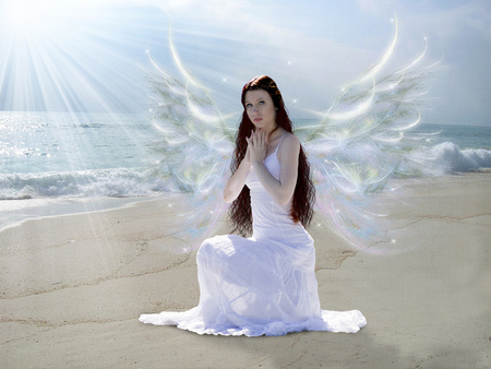 Prayer for Japan - fantasy, wings, 3d, abstract, prayer, waves, sand, angelic, unspoken, sunlight, beach, sun, ocean, white, water, angel