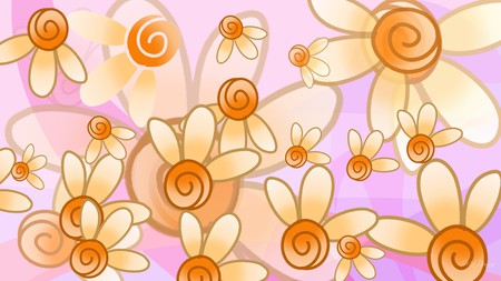 Floral Fantasy - layers, flowers, transparent, flora, orange, pink, floral, fantasy