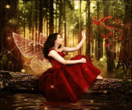 Sending my Love - wings, red dress, hearts, heart, magic, magical, girl, butterfly, woman, fairy, love, forest, red, fantasy, woods