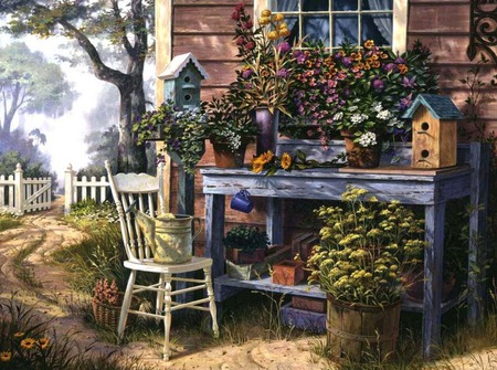 under the window - flowers, window, gate, watercan, birdhouse, chair, bench