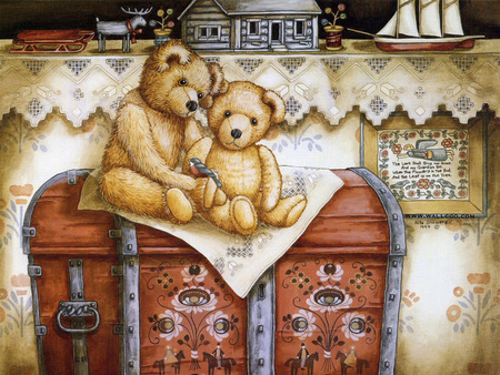 TEDDYS ON A CHEST - chest, bears, teddy, toy