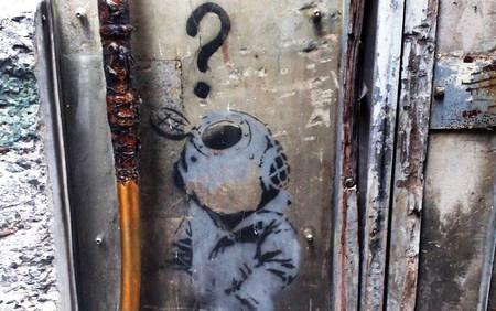 Banksy Little Diver - question, diver, graffiti, sydney, art, banksy