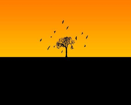 Horizon - black, horizon, tree, yellow, birds