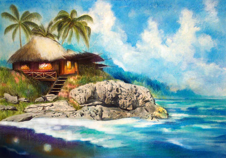 Rocky shores - hut, palm, trees, rocks, beach