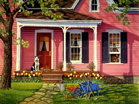 Little Pink Houses - dog, flowers, porch, wheelbarrow, cobblestone walk, house, tree, blue wheelbarrow