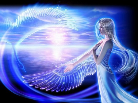 Crystal Wings - wings, crystal, angel, sky, abstract, blue, fantazy, girl, 3d, beautifull, fantasy