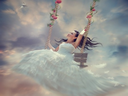 ROSE SWING - female, flowers, swing, bird, roses, clouds, sky, feathers