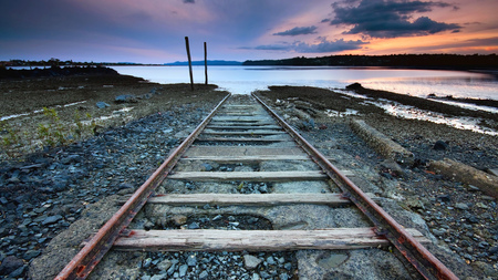 Tracks to Nowhere - water, tracks, beautiful, sky, nature, desolate, end
