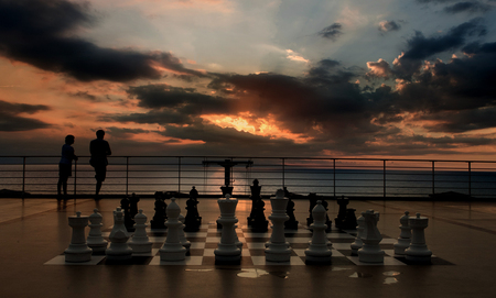 chess - couple, game, sky, chess
