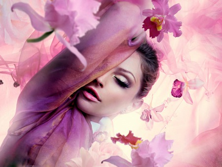 Orchid Rain - female, flowers, purple, woman, pink, orchids