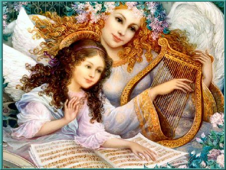 Easter Angel - angel, harp, music, lovely, easter, child