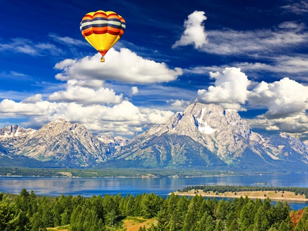 Landscape - splendor, balloons, hot air balloon, hot air balloons, reflection, balloon, blue, water, forest, green, trees, clouds, peaceful, lake, beautiful, river, air, view, beauty, magic, landscape, snow, white, grass, mountains, woods, colorful, sky, colors, lovely, photography, hot, nature