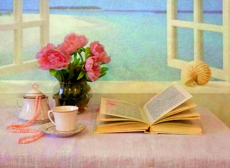 Sea View - flowers, pink peonies, window, pearls, sugar bowl, seashell, saucer, peonies, teacup, water, still life, pink pearls, necklace, sea, ocean, book