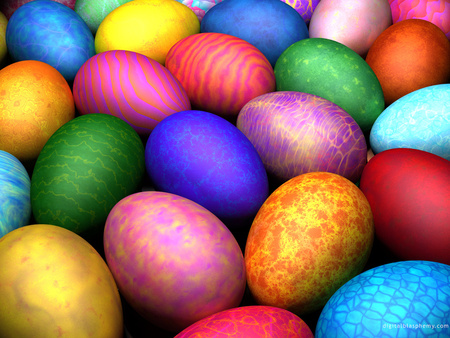 ☼ Easter Eggs ☼ - dye, bright, paint, easter, textures, eggs, colours, holiday, rainbow, colourful