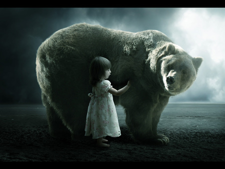 My friend - animals, friendship, friends, night, girl, dark, photoshop, love, little girl, bear, understanding, miracle, child, big, baby, friend, cute girl