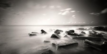 Coastline(for Coco) - coastline, sky, rocks, photograph, black and white, wall, water, wallpaper, photography, clouds