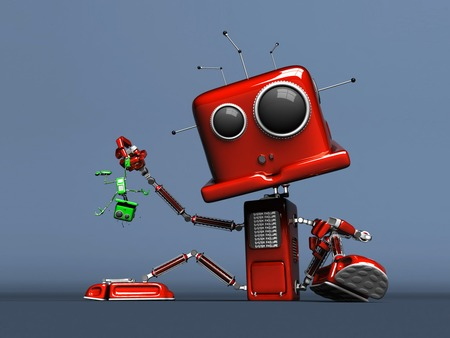 I am the Boss Robot - little green robot, red robot, big robot, green robot, two robots