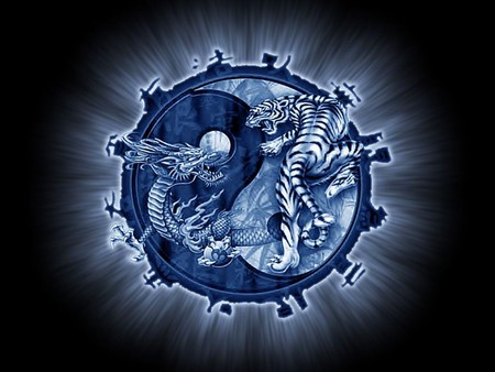 tiger and dragon - tiger, 3d, abstract, blue, fantasy, dragon