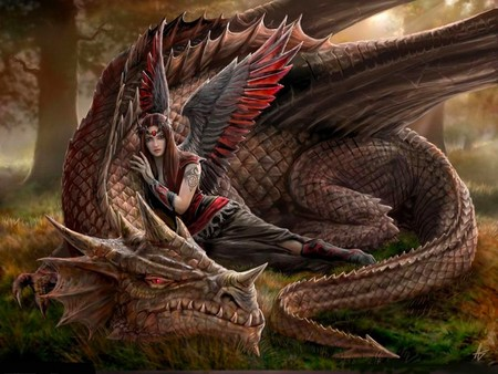 angel and dragon - angel, 3d, abstract, fantasy, dragon
