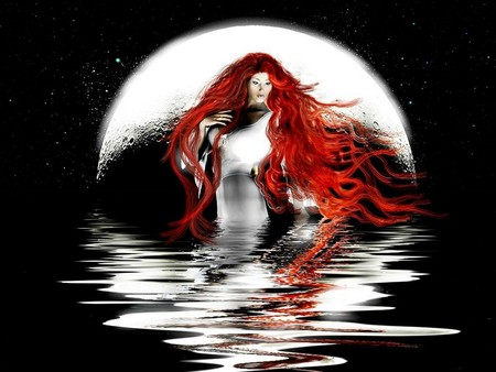 red hair - girl, woman, 3d, abstract, red, hair, fantasy