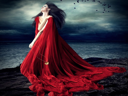 The Secret of Her Soul - secret, abstract, beach, night, brunette, female, woman, red, gold, cloak, ravens, sky, heart, birds, stormy, sea, ocean, dress