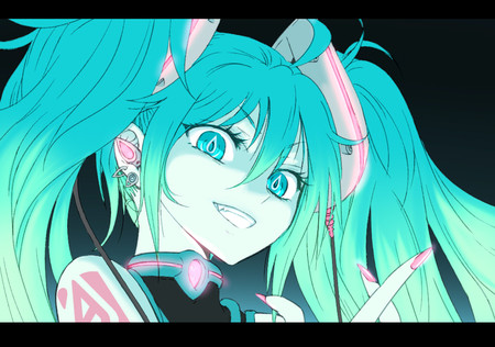 Evil Smile - green eyes, smile, hatsune miku, game, ponytail, vocaloid, anime
