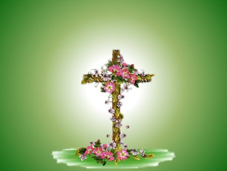 Easter cross with flowers - religion, easter, resurrection, christ, jesus, cross, flower