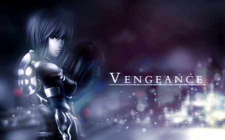 Vengeance - female, dark, light, ghost, ghost in the shell, vengeance, city