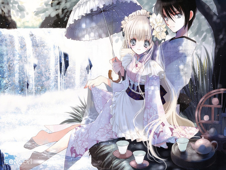 Perfect Couple - beautiful, drink, female, perfect couple, together, waterfall, male, umbrella