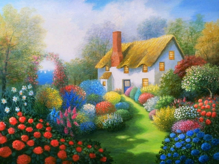 cottage path - arbor, grass, bushes, blossoms, cottage