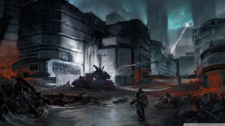 Danger Zone - adventure, hell, night, video game, dark, gun, weapon, halo, hd, concept art, artwork, soldier, fighting