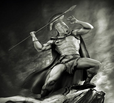 Spartan Warrior - fantasy, spear, abstract, helmet, knife, wallpaper, warrior