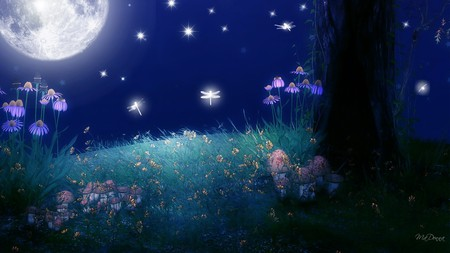 Twilight of the Moon - flowers, dragonflies, glow, sky, bright, stars, firefox persona, full moon, light, grass