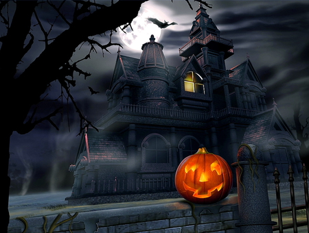 Halloween - darkness, beautiful, halloween, colorful, black, eautiful, colors, night, pumpkin, dark, light, house, castle