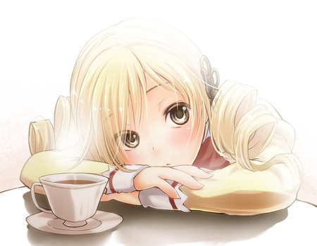 anime girl - girl, blond, tea, anime