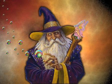 WIZARD AND A FAIRY - old, man, fairy, wizard