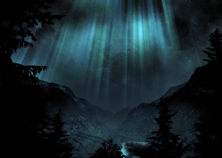 In the shadow of the stars mountains nature background for Sfondi desktop aurora boreale