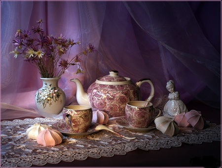Tea and dessert - flowers, cup, pink, pretty, saucer, veil, porceline, sweets, vase, kettle, girl, silk, lace, dessert, spoon, teapot