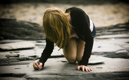 Writing on Stone - writing, blonde, stone, girl