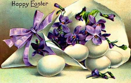 Happy Easter To All On DN! - flowers, eggs, ribbon, violets, holiday, wrapping paper, happy easter, easter