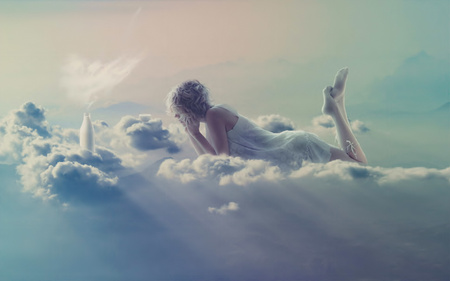 Clouds - female, milk bottle, dirl, clouds, angel, abstract, women, fantasy