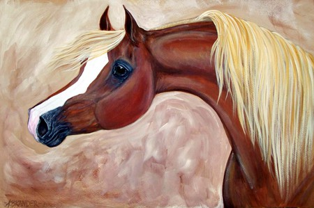 Horse Painting - horses, brown, painting, animals