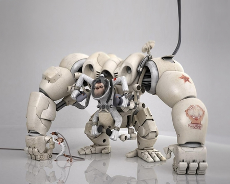 Monkey Robot  - 3d, monkey, abstract, robot
