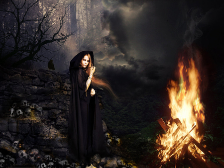 Black Magic - spells, which, evil, black, arts, magic, skulls, smoke, dark, woman, black magic, forest, fire, spell, good