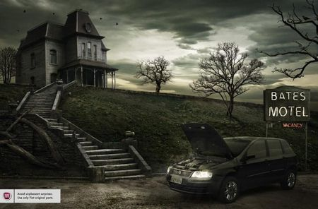 Bates Motel w/car - building, movie, funny, car